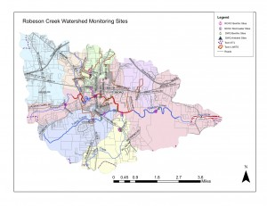 WQ Monitoring sites in the Robeson Creek Watershed